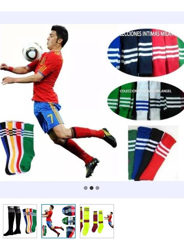 medias fútbol negras caballeros y niños variedad de colores