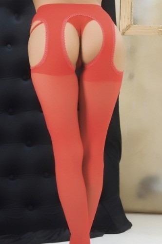 medias panty portaligas incorprado con abertura lycra red