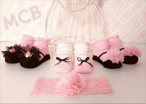 medias tipo zapatos tripack calcetines bebes + vinchita