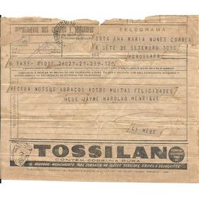 Medicina 1954 Telegrama Tossilan Tosse Bronquite Gripe Usado