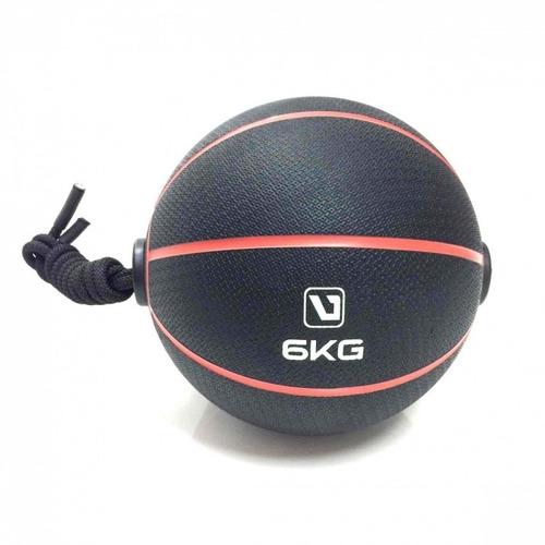 medicine ball com corda 6kg liveup abdômen 10