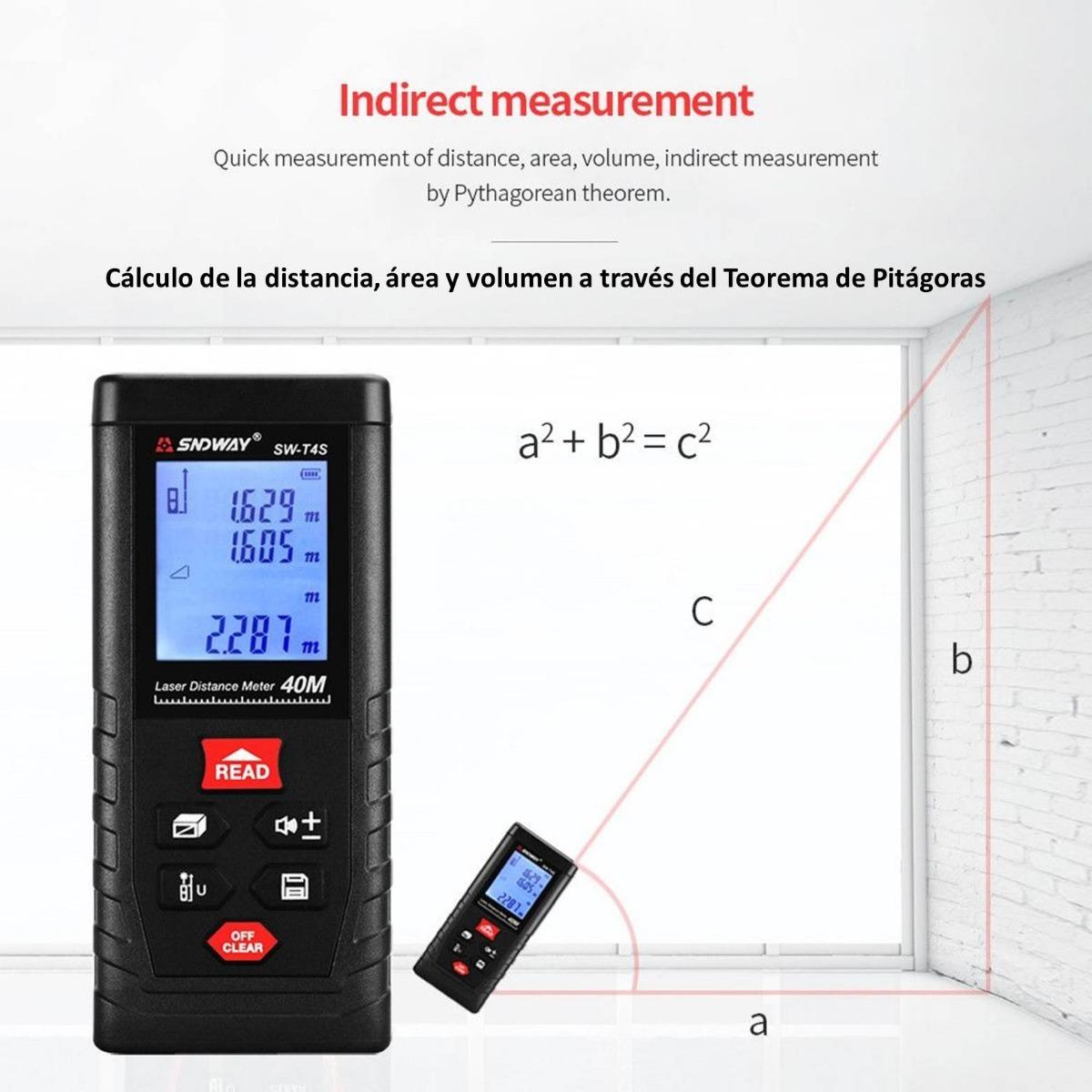 Medidor l/áser digital de distancia de 80 m con retroiluminaci/ón LCD para medir la distancia el volumen y el teorema de Pit/ágoras el /área