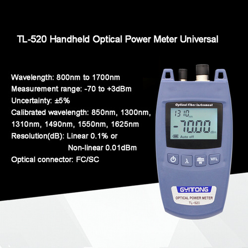medidor de potencia óptico de mano tl-520 conector universal