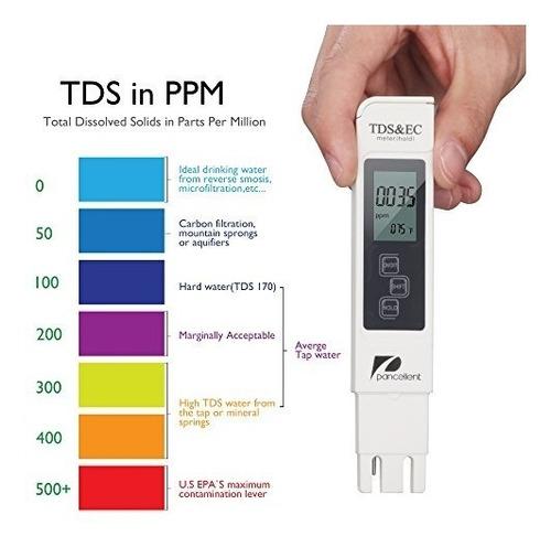 medidor de prueba de calidad de agua pancellent tds ph