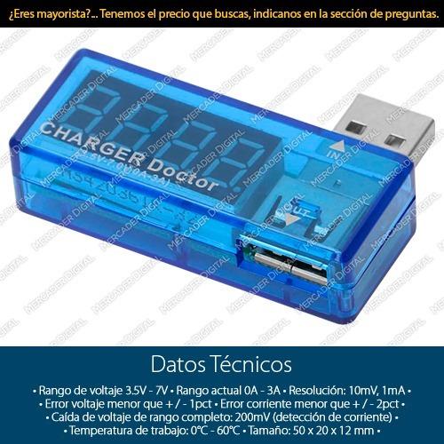 medidor de voltaje y corriente / probador para puertos usb