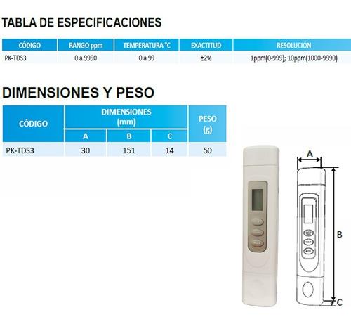 medidor tds de conductividad y temperatura pk-tds3 purikor