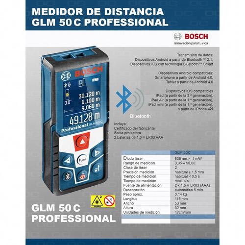 medidor telemetro laser bosch glm 50 c bluetooth mide distancia 50mts superficie volumen inclinacion estuche