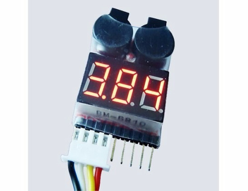 medidor y alarma bajo voltaje lcd para baterias lipo y life
