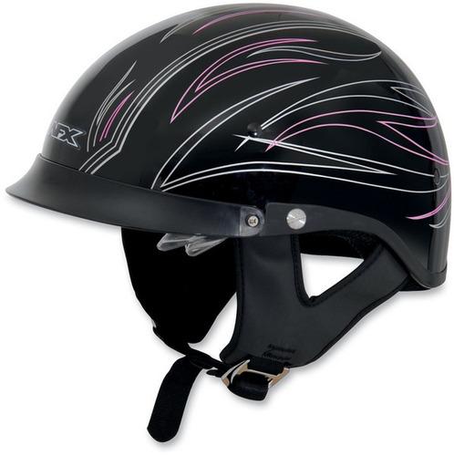medio casco afx fx-200 a rayas rosadas lg