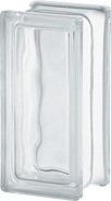 medio ladrillo de vidrio ondulado incoloro 19x9x8 cm