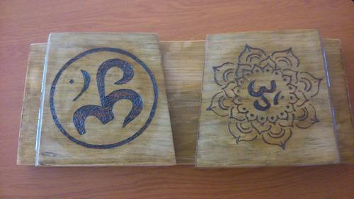 meditación bancos pirograbados en madera.