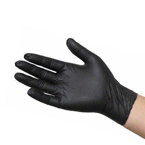 medpride negro nitrilo guantes de examen sin polvo, medio,