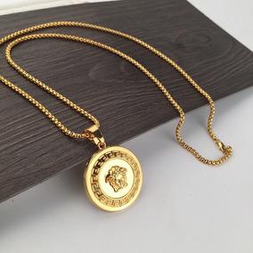 19ac10568188 Medusa Versace Con Cadena Estilo Franco Laminada En Oro 18k