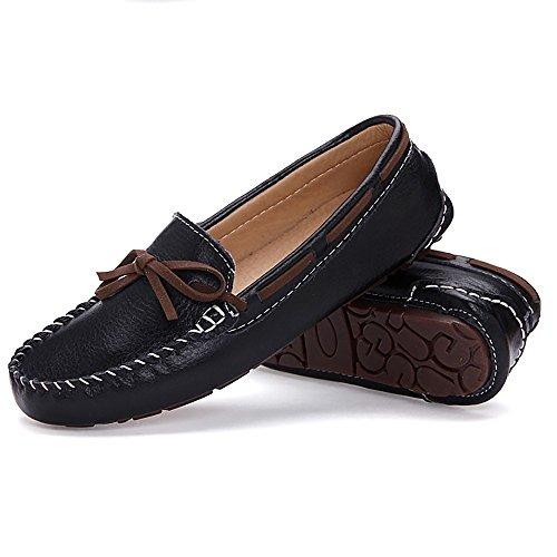 Meeshine Zapatos Mocasines De Cuero Para Mujer Slip On Bo ... 01302b6cd43f