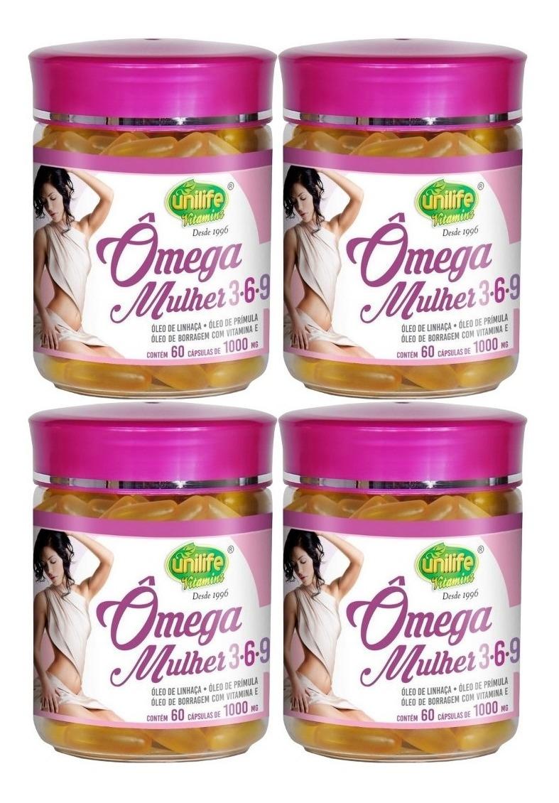 Omega 3-6-9 Mulher 1000mg 60 Cápsulas Unilife Kit 4 Unidades