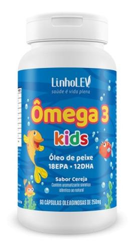 ômega 3 infantil sabor cereja 250mg 60 cápsulas - linho lev
