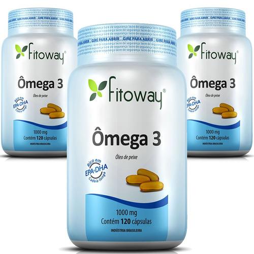ômega 3 óleo de peixe 1000mg - fitoway - 360 cápsulas