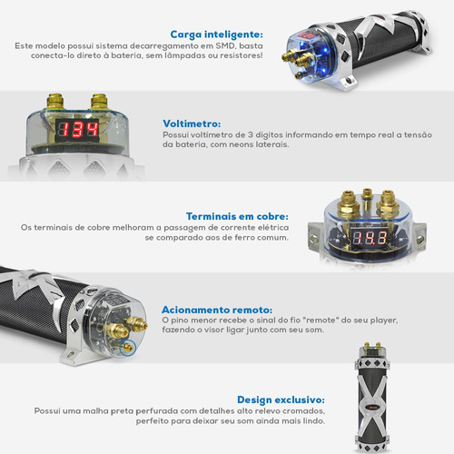 mega capacitor 3 farad black cromo p modulo digital/ caixa