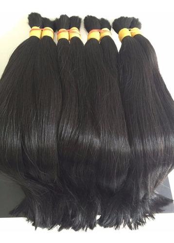 mega hair natural 75-80cm 100g. leve ondas.