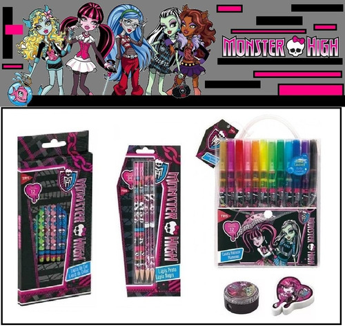 mega kit escolar monster high - 30 peças $ c