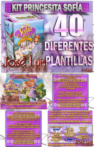 mega kit imprimible 100% editable princesa sofia jose luis