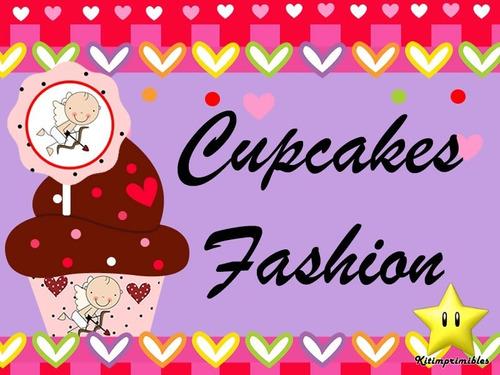 mega kit imprimible cupcake fashion + capecillos + wrappe #2