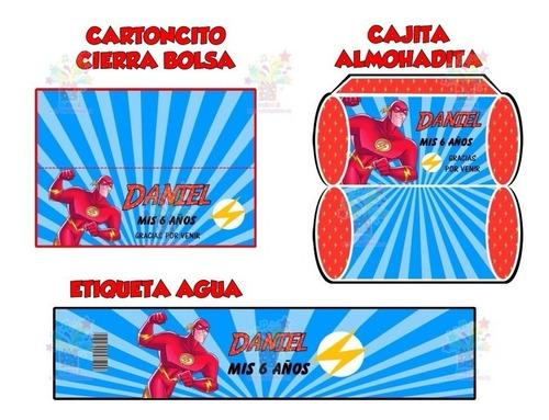 mega kit imprimible flash super heroe candy bar cotillón 2x1