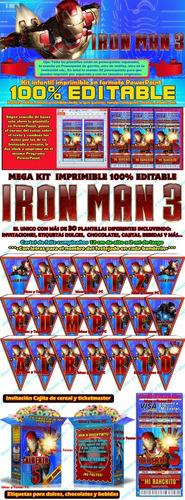 mega kit imprimible iron man cotillón envio instantáneo 2x1