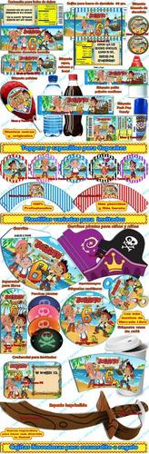 mega kit imprimible jake y los piratas del nunca jamas 2x1