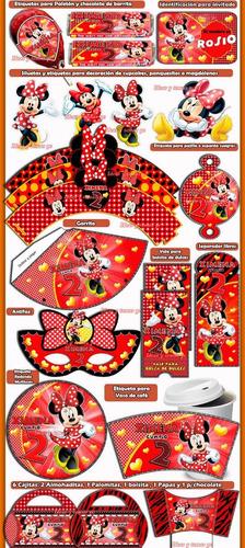 mega kit imprimible minnie roja cotillón cumpleaños 2x1