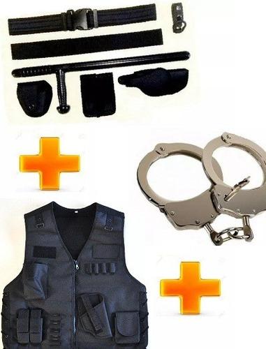 mega kit policial correaje+ tonfa+ chaleco táctico+ esposa