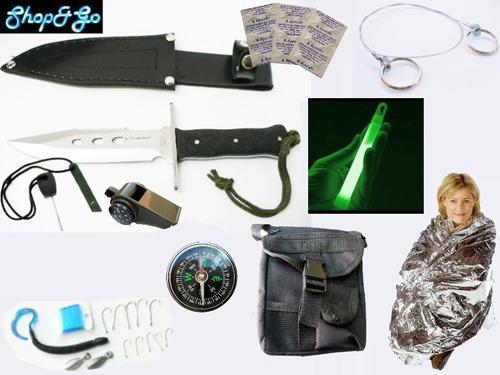 mega kit supervivencia cuchillo pedernal manta brujula 30 pz