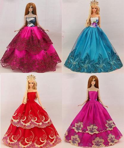 mega lote * 10 vestidos para boneca barbie + 10 sapatinhos