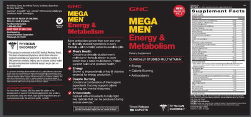 mega men energy & metabolism multivitaminico tabletas.