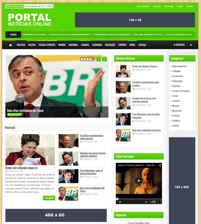 Mega portal de noticias responsivo layout varias cores for N portal