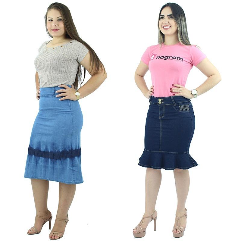 5eac3738ad mega promoção! 2 saias evangélica jeans + cinto + frete. Carregando zoom.