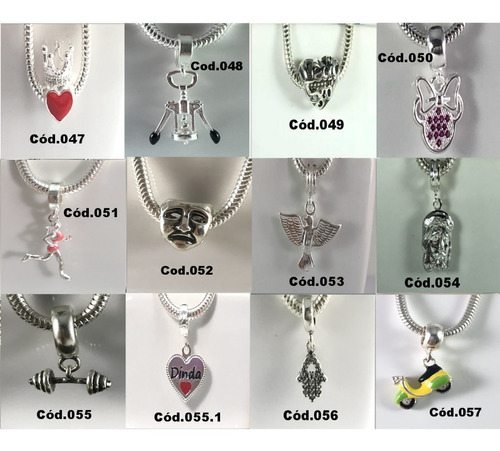 mega promoção berloque charms  prata maciça 925