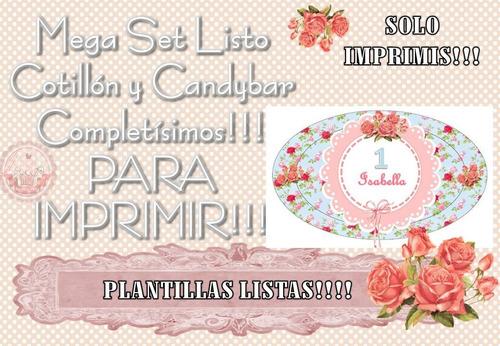 mega set ultra cotillon + candybar imprimir rosas flores