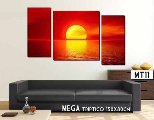 mega triptico 150x80cm cuadro moderno paisaje decoración