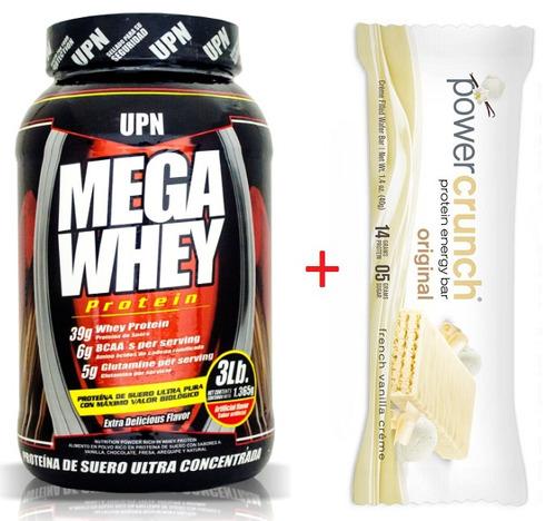 mega whey proteína con bcaa glutamina baja calorías upn 3lbs