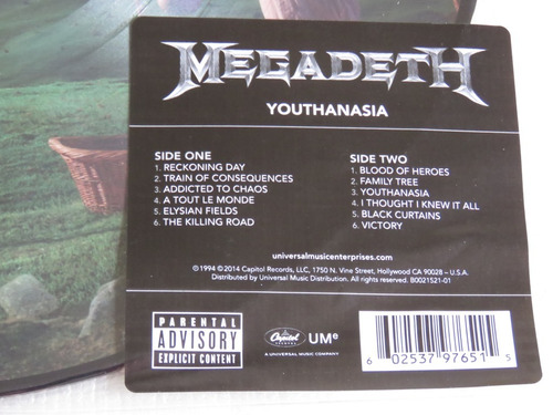 megadeth youthanasia lp picture disc countdown peace rust