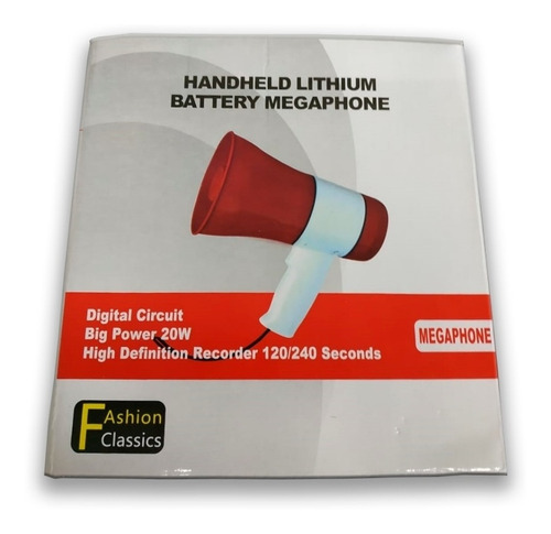 megafone gravador 20w auto usb sd mao portatil recarregavel