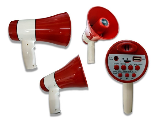 megafone usb sd sirene gravador 20w recarregavel profissiona