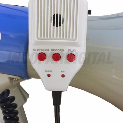 megafono moon 25w grabador de voz alcance 1,5km sirena silb