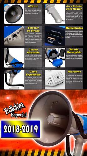 megafono profe portatil con sirena y ajuste de volumen xaris