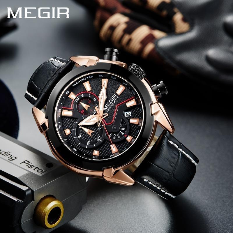 718ac54da1fc megir 2065g reloj cuarzo cronógrafo analogico hombre cuero. Cargando zoom.