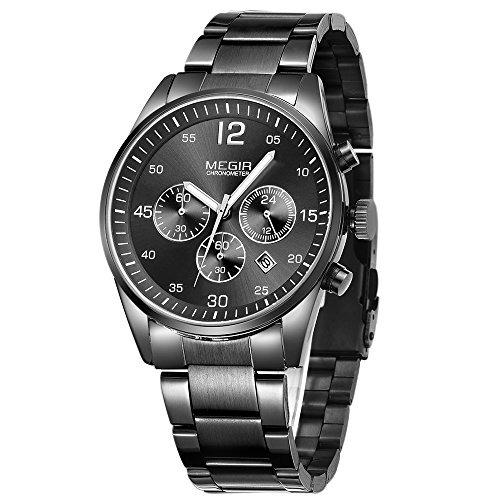 0a64a2188daa Megir Relojes Hombre Negro De Acero Inoxidable De Cuarzo De ...