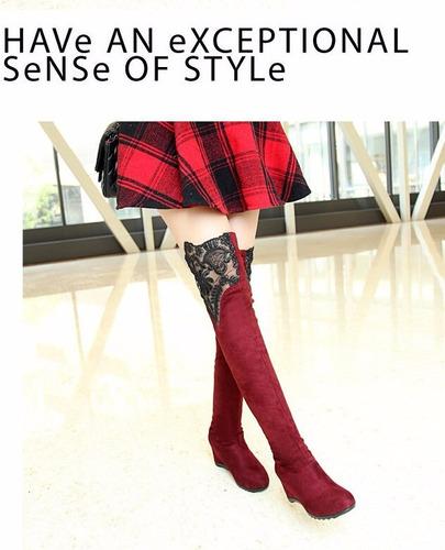 mei fashion / botas con encaje / moda coreana