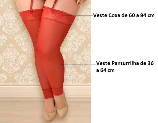 87b95d5ab Meia 7 8 Sem Pé Plus Size Espartilho Branco Preto Vermelho - R  19 ...