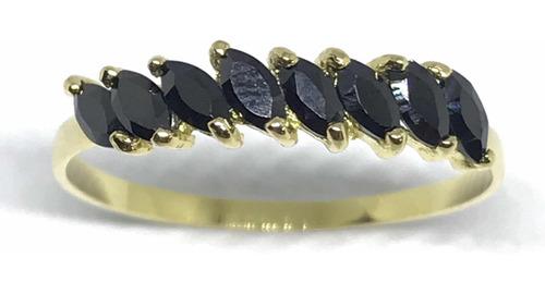 meia aliança aparador ouro 18k zirconia preta 2x4 re 03-167